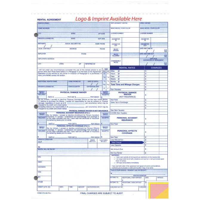Rental Agreement - CFD-252-PA4 - 4 Part - IMPRINTED - Qty. 500 - Independent Dealer Services