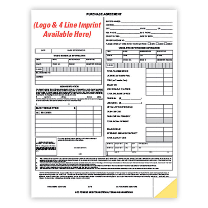 Purchase Agreement - 2 Part - Imprinted - Qty. 500 - Independent Dealer Services