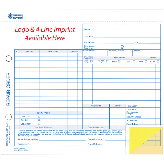 Repair Order - RO-600-3 - 3 Part - Imprinted - Qty 500 - Independent Dealer Services