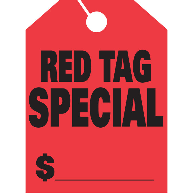 Hang Tags - Red Tag Special -  Large, Red - Qty. 50 - Independent Dealer Services