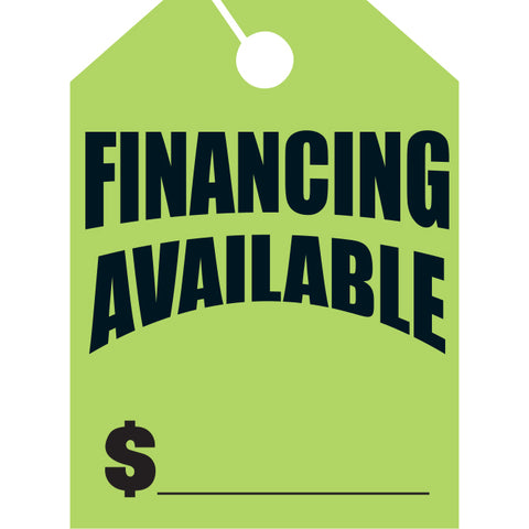 Hang Tags - Financing Available - Large - Qty. 50 - Independent Dealer Services