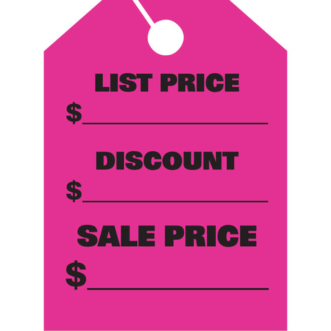 Hang Tags - List & Discount - Large - Qty. 50 - Independent Dealer Services