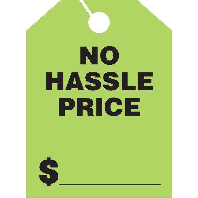 Hang Tags - No Hassle Price - Large - Qty. 50 - Independent Dealer Services