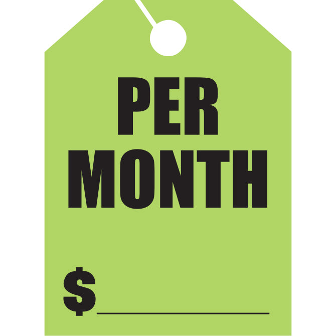Hang Tags - Per Month - Large - Qty. 50 - Independent Dealer Services