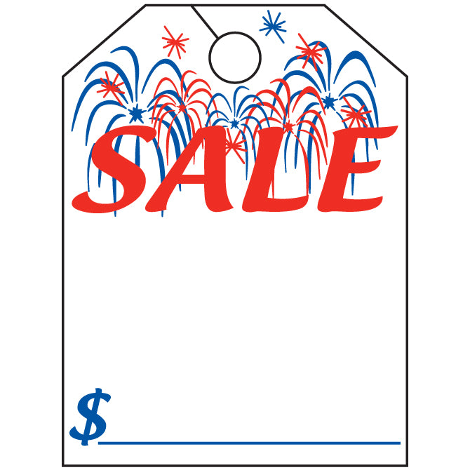 "Hang Tag - Sale with Fireworks -  8.5"" x 11.5"" - Qty. 50 - Independent Dealer Services"