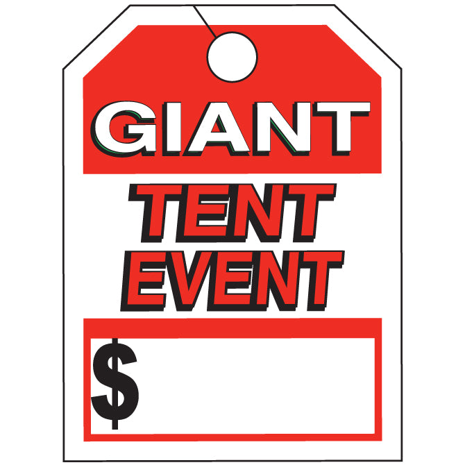"Hang Tag - Giant Tent Event - 8.5"" x 11.5"" - Qty. 50 - Independent Dealer Services"