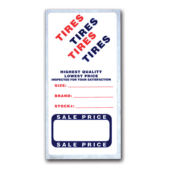 "Tire Advertising Labels - 2 3/4"" x 5 5/8"" - Qty. 500 - Independent Dealer Services"
