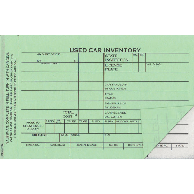 "Used Car Inventory Card - 2 Part - 6-5/8"" x 4-1/4"" - Qty. 100 - Independent Dealer Services"