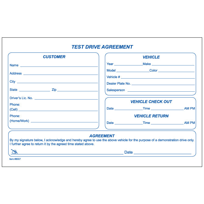 Test Drive Agreement Form - Qty. 100 Per Pad - Independent Dealer Services