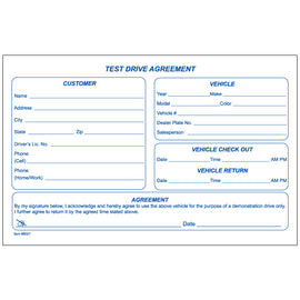 Test Drive Agreement Form - Qty. 100 Per Pad