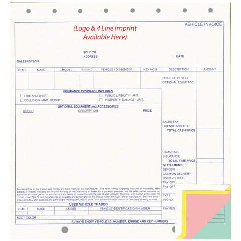 Universal Vehicle Invoice - 6131-4 - 4 Part - Imprinted - Qty. 500 - Independent Dealer Services