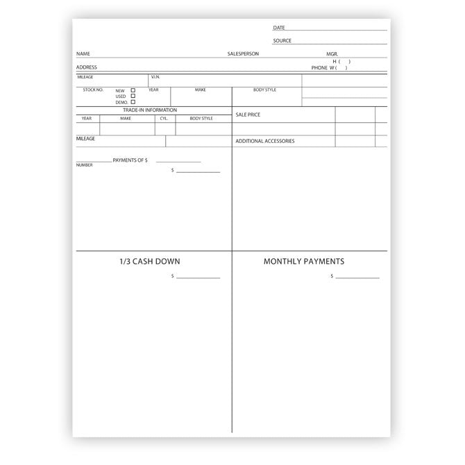 Four Square Form/Customer Proposal - 1 Part - Qty. 100 - Independent Dealer Services