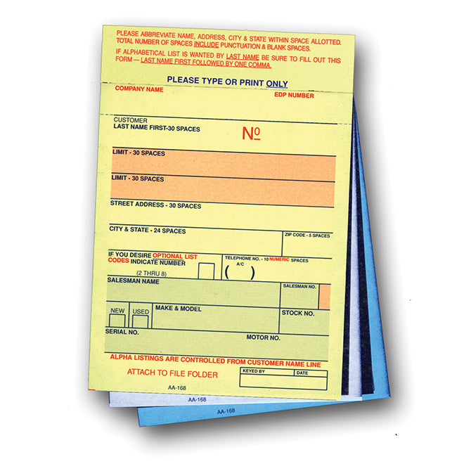 Vehicle Deal Labels - AA-168 - 3 Part - Qty. 100 - Independent Dealer Services