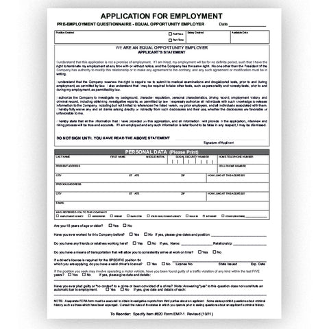 Application for Employment - EMP-1 - Qty. 50 - Independent Dealer Services