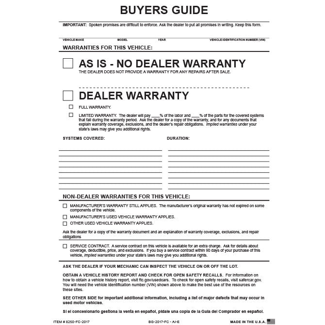 Buyers Guide - BG-2017 - As Is - 2 Part - File Copy - Qty. 100 - Independent Dealer Services