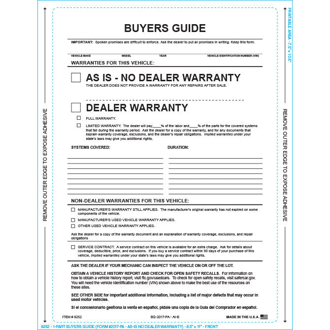 Buyers Guide - BG-2017-PA - AI-E - As Is - P/A - Qty. 100 - Independent Dealer Services