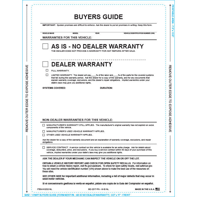 Buyers Guide - BG-2017-PA - AI-E-NL - As Is - P/A - No Lines - Qty. 100 - Independent Dealer Services