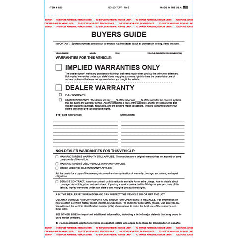 Buyers Guide - BG-2017-2PT - IW-E - Implied Warranty - Qty. 100 - Independent Dealer Services
