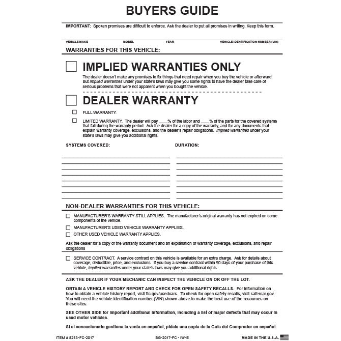 Buyer Guide - Implied Warranty, 2 Part - File Copy - Qty. 100 - Independent Dealer Services