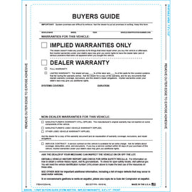 Buyers Guide - Implied Warranty - P/A - No Lines - Qty. 100 - Independent Dealer Services