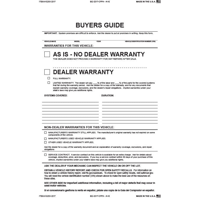 Buyers Guide - BG-2017-CFPA - AI - As Is - 2 Part, 16# Paper/PA - Qty. 100 - Independent Dealer Services