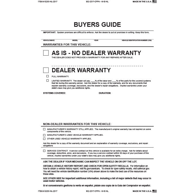 Buyers Guide - BG-2017-CFPA-AI-E-NL As Is-2 Pt No Lines -Qty. 100 - Independent Dealer Services