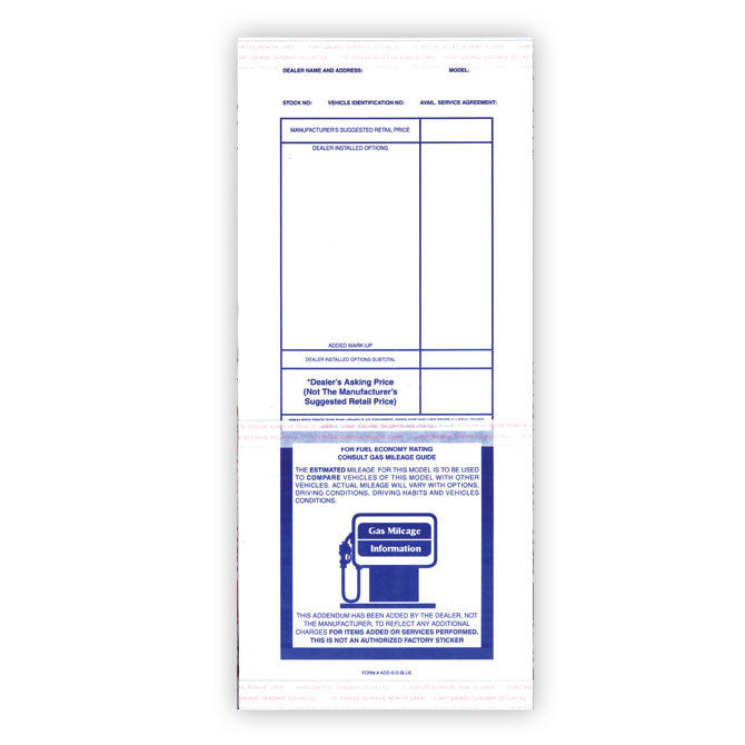 Addendum Sticker - ADD-512 - Qty. 100 - Independent Dealer Services