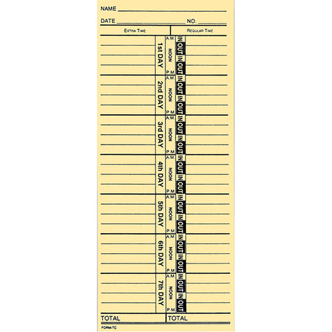 Time Clock Cards - TC-1 - Qty. 250 - Independent Dealer Services