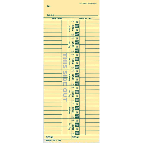 Time Clock Cards - TC-292 - 2 Sided - Qty. 250 - Independent Dealer Services