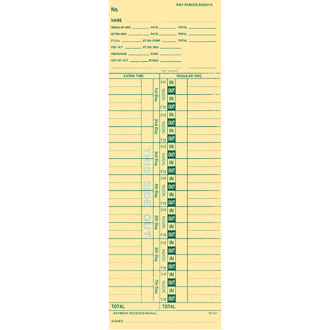 Time Clock Cards - TC-57 - Qty. 250 - Independent Dealer Services