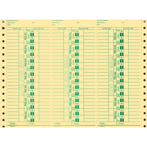 Continuous Time Clock Cards - AA-292-VI - Qty. 300 - Independent Dealer Services