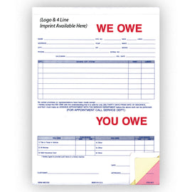 We Owe / You Owe - 872 - 3 Part - IMPRINTED - Qty. 500 - Independent Dealer Services