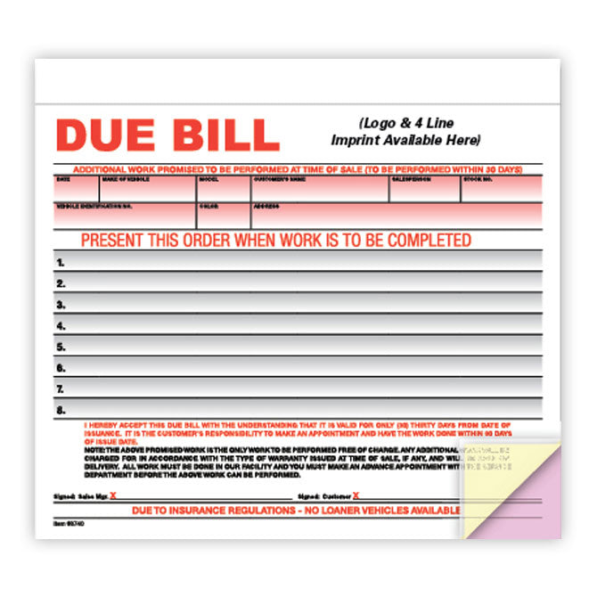 Due Bill Form - 3 Part - IMPRINTED - Qty. 500 - Independent Dealer Services