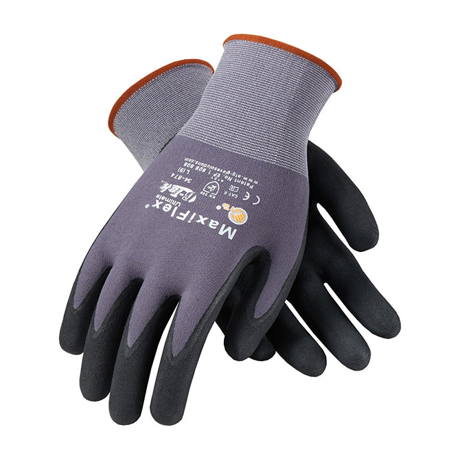 Nitrile Coated Nylon/Lycra Knit Gloves - Mediumty. 12 pairs