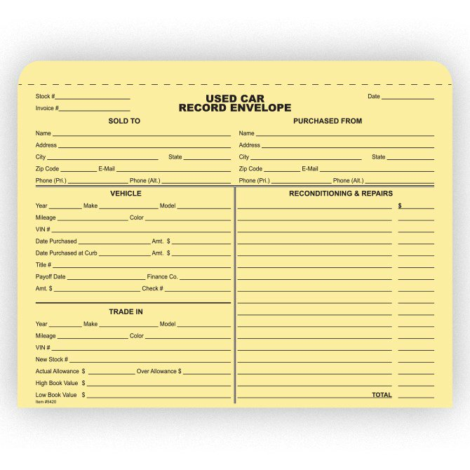 Used Car Record Envelope - Qty. 100 - Independent Dealer Services