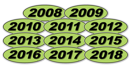Oval Year Window Sticker - BLACK on GREEN - Qty. 12