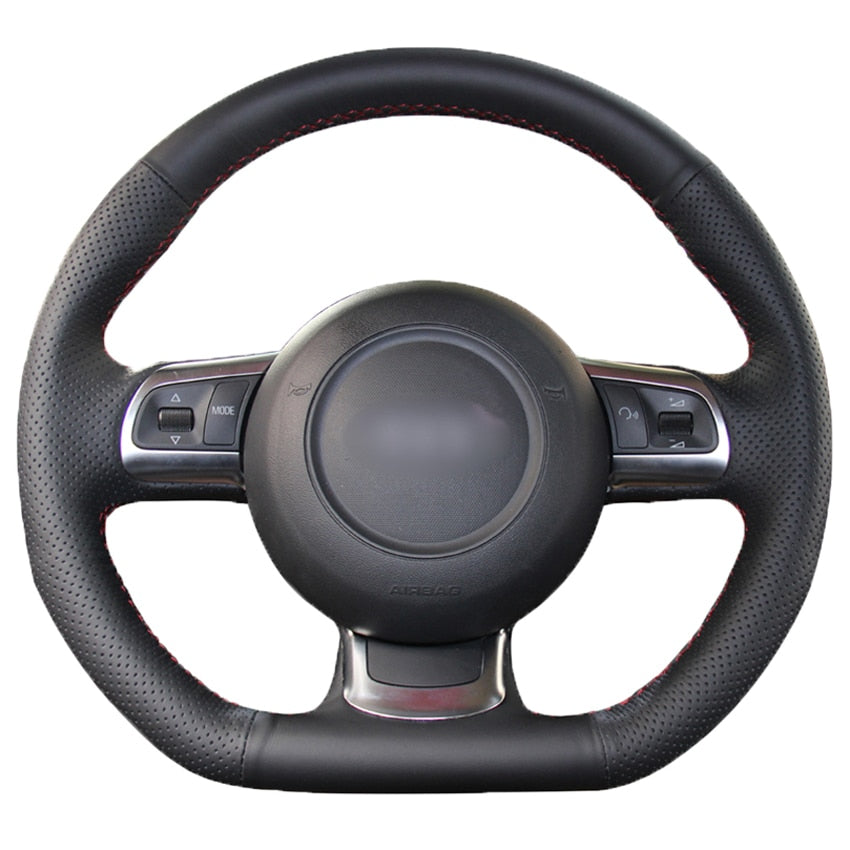 Black PU Faux Leather Hand-stitched Car Steering Wheel