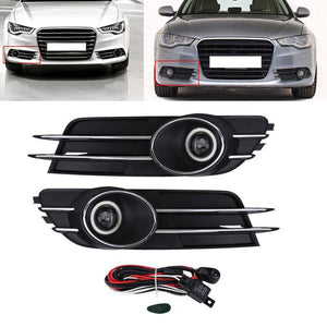 Car Front Bumper Foglight Grille Fog Light Lamp Set for Audi A6 C7 2011 2012 2013 2014 2015 for Modification
