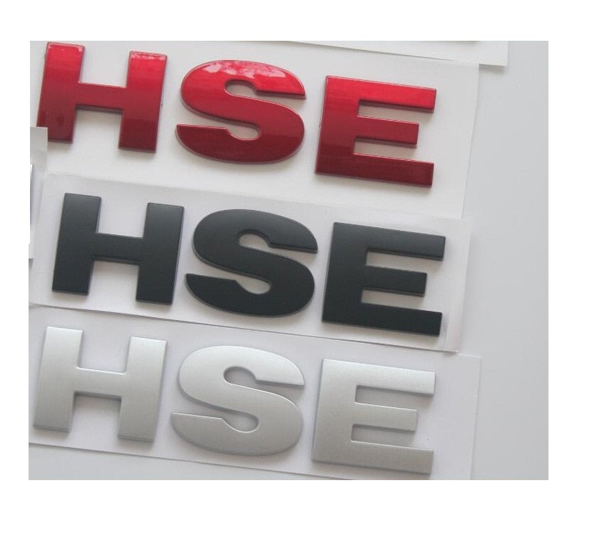 "Car Rear Trunk Letters "" HSE "" Badge Emblem Emblems Badges Sticker for Land Rover Discovery Range Rover H S E"