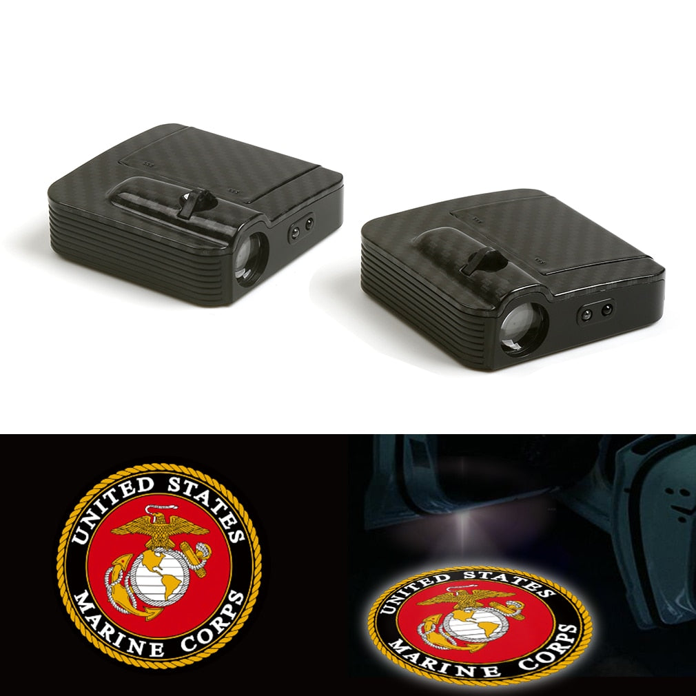 Fit For United States Marine Corps Car Door Wireless LED Laser Projector Shadow Light 12V