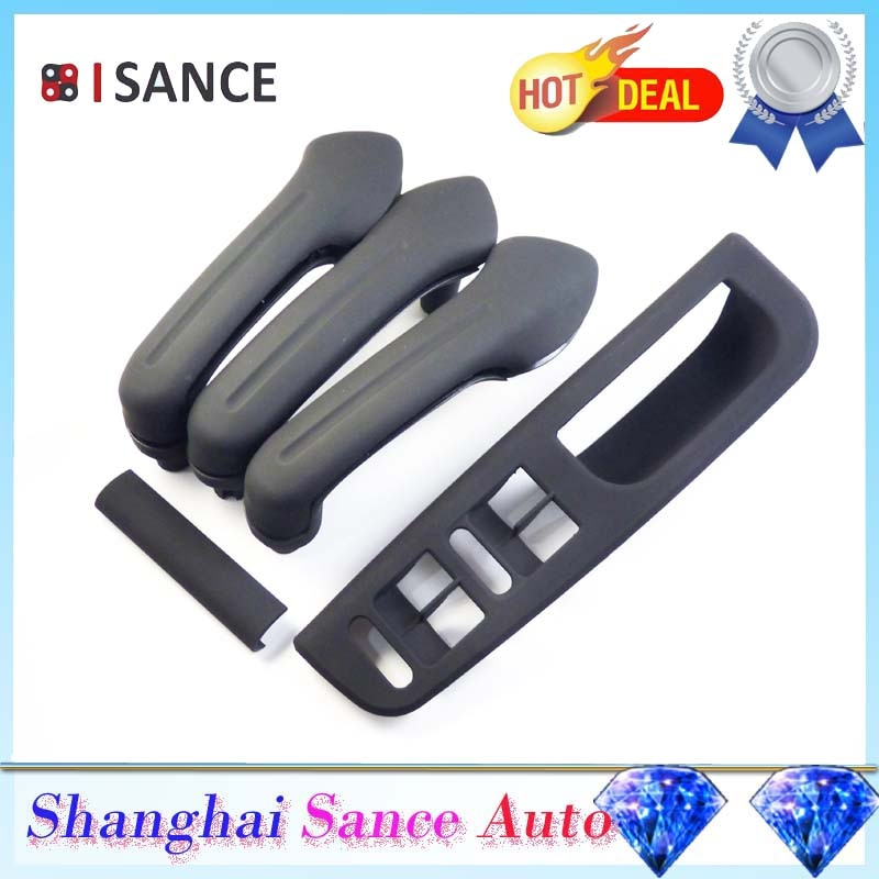 ISANCE Black Interior Door Handle Cover Grab Bezel & Window Mirror Switch Panel 1J0867171A 3B1867171E For VW Jetta Golf Bora MK4
