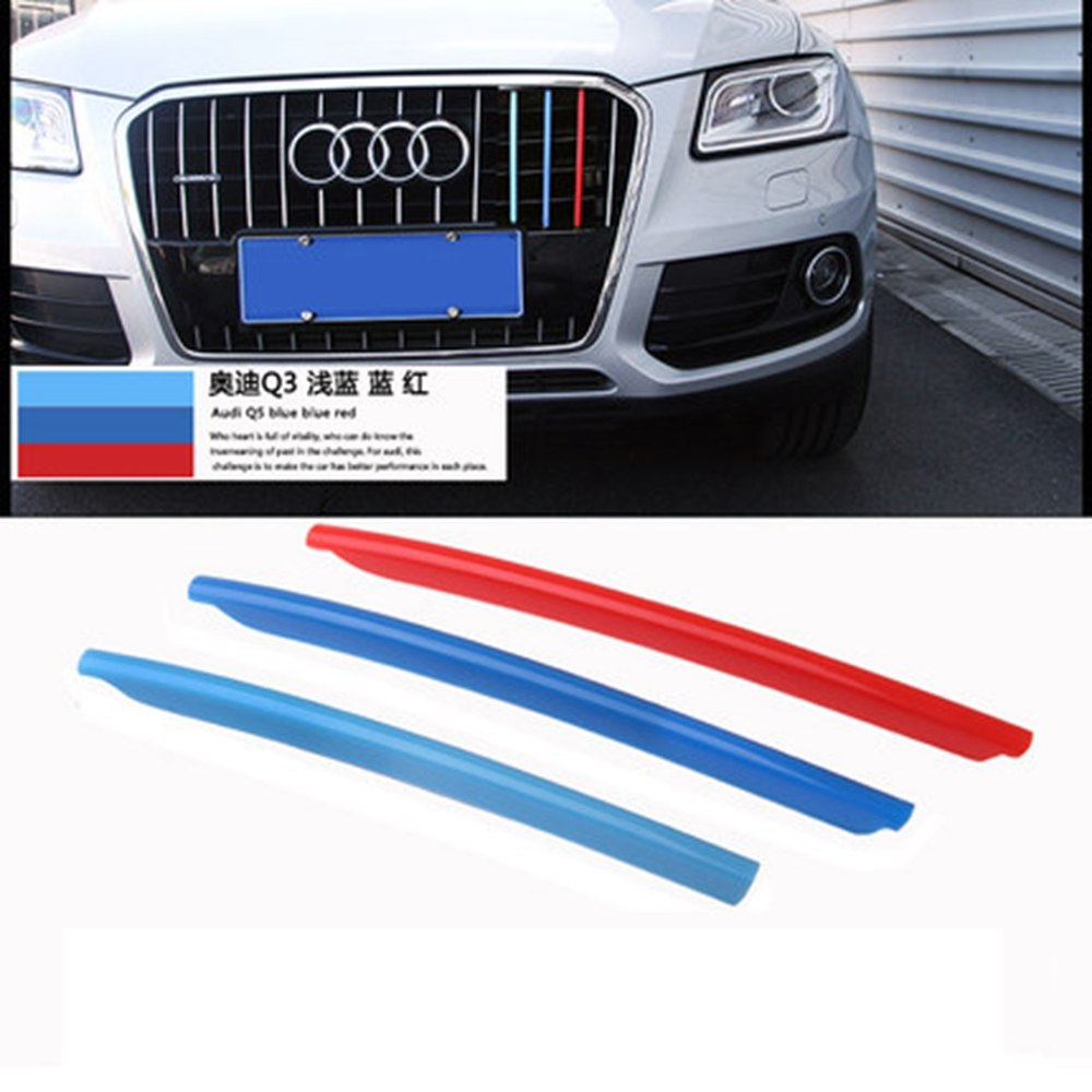MONTFORD For Audi Q5 2013 2014 2015 2016 2017 ABS 3 Color Front Center Racing Grill Grille Decoration Cover Trim Strips 3Pcs/set