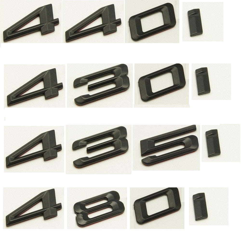 Matte Black ABS Number Letters Word Car Trunk Badge Emblem Emblems for BMW 4 Series 420i 428i 430i 440i 435i 450i 480i