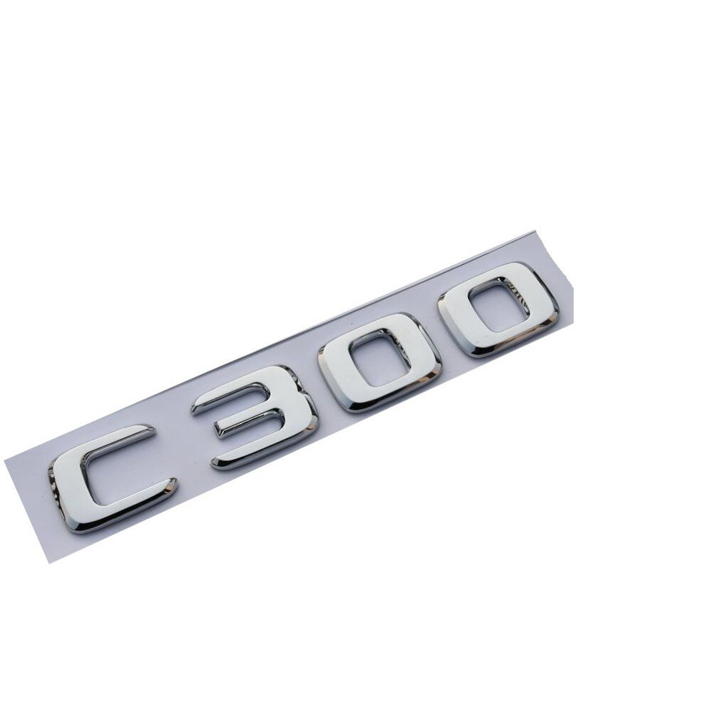 New Chrome ABS Rear Trunk Letters Badge Badges Emblem Emblems Sticker for Mercedes Benz C Class C300 2017 2019