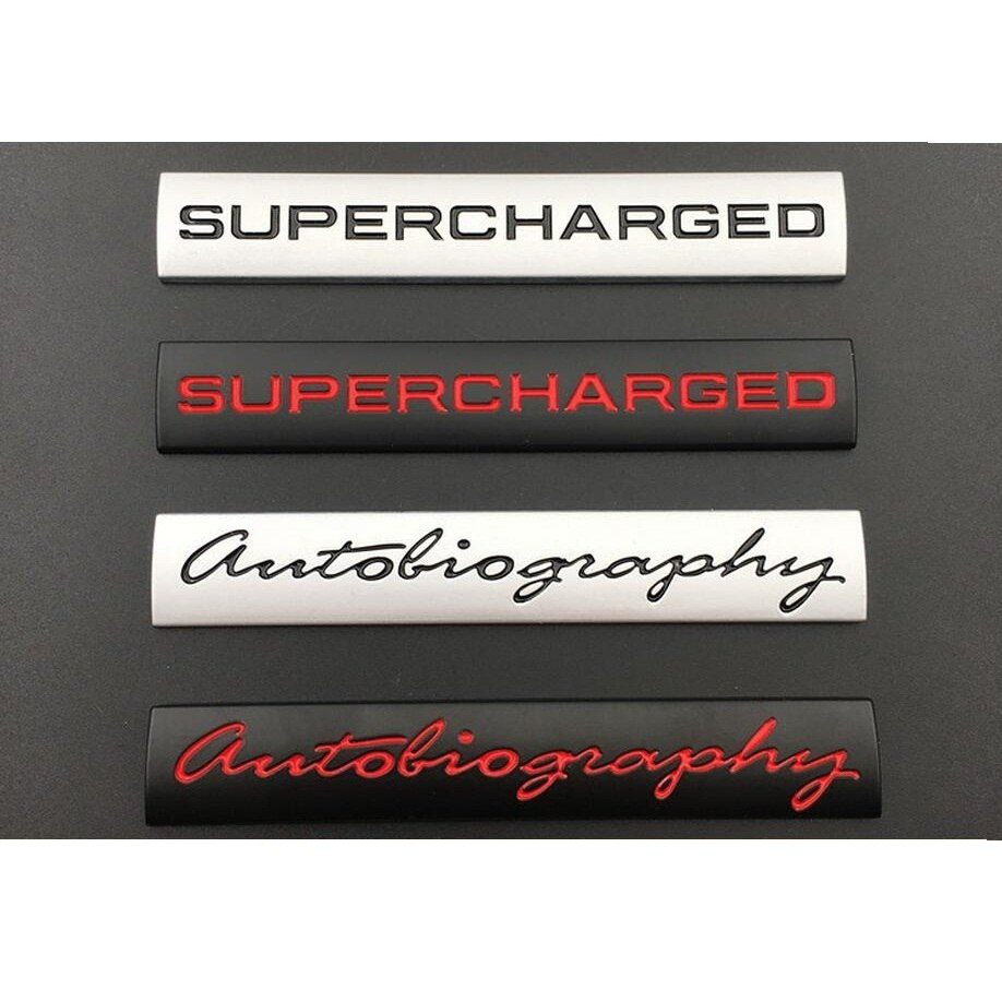 "Silver Black ""Autobiography "" "" SUPERCHARGED "" Trunk Letters Badge Emblem Emblems Badges for Land Rover Discovery Range Rover"
