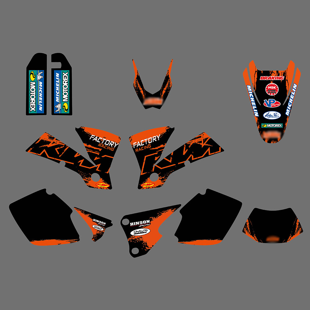 TEAM GRAPHICS & BACKGROUNDS DECALS STICKERS FOR KTM EXC 125 200 250 300 400 450 525 2003