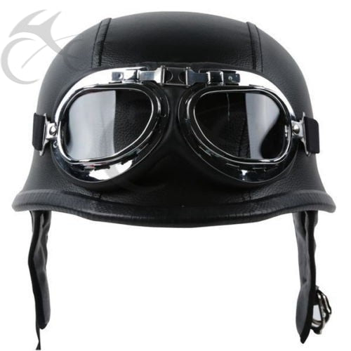 DOT German Black Leather Motorcycle Half Face Helmet Biker Pilot Goggles M L XL