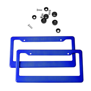 2pcs Front Rear Auto Truck Vehicles Carbon Fiber License Plate Frame Tag Cover Holder For USA/Canada Cars With Screws
