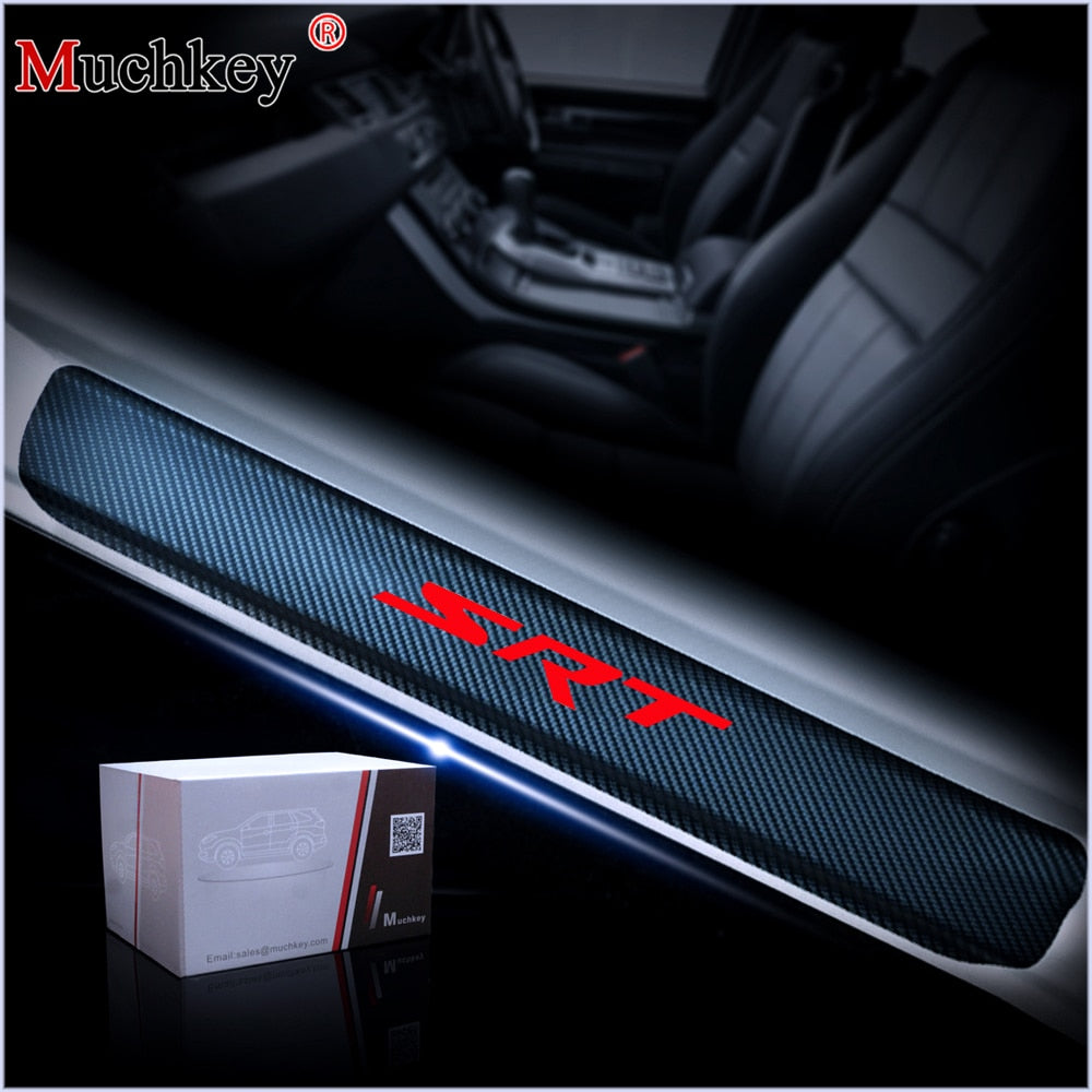For JEEP Grand Cherokee SRT Carbon Fiber Vinyl Sticker Car Door Sill Protector Door Step Plate Protector Car Accessories 4Pcs