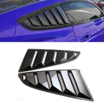 2Pcs Black Carbon Fiber Grain Car Side Window Louvers For Ford Mustang 2015-2017 Car Styling Modification Accessories